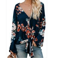 Women's Blouses & Shirts Blouse Casual Front Tie Floral Print Top V-neck Shirt Long Sleeve Loose Vintage Femme Blusas Mujer Tops