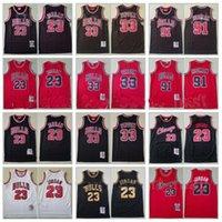 Basquetebol Scottie Pippen Jersey 33 Dennis Rodman 91 Michael 23 Equipe Respirável Vermelho Stripe Branco Preto Retrocesso Vintage Top Quality