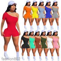 11 ألوان حار بيع 2021 جديد المرأة بذلة مصمم بلون ضلع واحد الكتف أكمام الصدرية السراويل نيسيس الأزياء سليم السروال القصير الأزياء 802