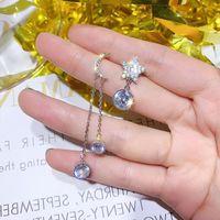 Stud Asymmetrical Star Moon Crystal Hypoallergenic Long Earrings Female Korean Style Temperament Fashion Ear Jewelry Gift