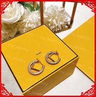 Lüks Mektup F Küpe Bayan Yıldız Elmas Küpe Lady 925 Ayar Gümüş İğneler Kulak Çiviler Tasarımcılar Takı Curb Zincir Boucles d'Oreille tr Diamant