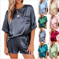Kadın Bahar 2021 Katı Renk Ipek Pijama, Yuvarlak Yaka, Kısa Kollu Bluz ve Şort, İki Adet Basit Rahat Sıcak Ev Giyim