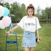 Women's T-Shirt Korean Flowwer Embroidery Basic T Shirt Lotus Leaf Sleeve Summer Short Simple T-Shirts Girl Kawaii Funny O-Neck Tops