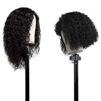 Synthetische Perücken Afro Kurzer Bob Kinky Curly mit Pony 200% Dichte Haar Perücke Stirnband für schwarze Frauen Wasserwelle