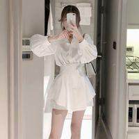 Casual Dresses One-Piece Korean 2021 Summer Women White Long Shirts Two Piece Sets Lantern Sleeve Blouse + High Waist Wide Leg Suits