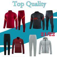 2022 Survêtement de football Liverpool pour hommes Veste zippée complète Hoodie 20 21 22 Sweat à capuche de football demi-zip pour hommes 2021 survetement foot chandal