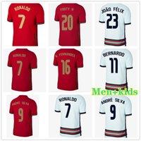 2021 Ronaldo Joao Felix Andre Silva Soccer Jersey B. Fernandes Bernardo 2022 Home Third Shirts 21 22 الرجال + Kids Kit