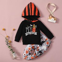 Clothing Sets 2Pcs Halloween Little Girls Boy Outfit Toddlers Long Sleeve Letter Hooded Tops Cat Ghost Pumpkin Printing Pants Set 1-4T