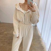 Women's Two Piece Pants Korean Chic Autumn Loose Zipper Hoodie Women Long Sleeve Tops + High Waisted Casual Sports Fashion Soft Set
