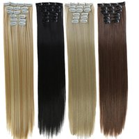 24Inchs 16 Clips In Hair Long Straight Hairstyle Synthetic Blonde Black Hairpieces Heat Resistant False Wigs
