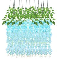 Couronnes de fleurs décoratives IMIKEYA 12 PCS Soie artificielle Silk Wisteria Ivy Vigne Vert Feuille Guirlande Simulation Props 90cm pour le mariage de fête Hom