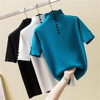 Sommer Mode gestrickte Button T-shirt Frauen Rollkragenkurzhülse Slim Solide T-Stück Femme Damen Pullover Tshirt Tops Frauen T-Shirt