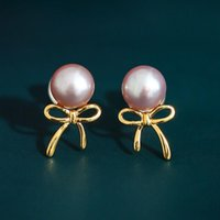 Stud DAIMI 6-7mm Pink Purple Freshwater Pearl Earrings 925 Sterling Silver For Girlfriend