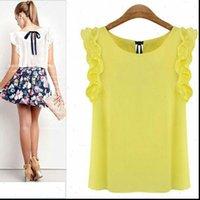 Famoeee Womens Lotus Shirts Hoja Jersey Camisa de gasa Moda Blusa femenina más Tamaño Casual Verano suelto