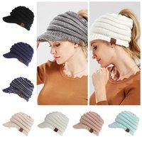 Women's CC Knitted Baseball Cap Open Ponytail Visor Cap Ski Cap Beanie Hat Winter For Women Winter Ponytail Beanie Hat 12 Colors 50pcs