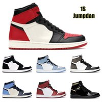 Top Qualité Jumpman 1 1S Hight Coupée Obsidian intrépide Créquenciciane Mens de Basketball Chaussures Basketball Banked Bred Bred Toe Chicago Boy Girl Girl AJ1 Airforceone avec Boîte