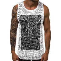 Men's Tank Tops Summer 2021 Men's Fashion Letter Print Large Round Neck Vest Sweatshirt B10