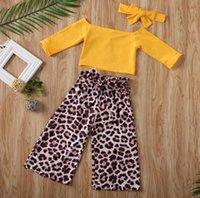 Children Clothes Sets Long Sleeve Off Shoulder Tops + Leopard Wide Leg Pants Spring Summer Kids Baby Girls