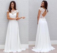 Bohemian White Wedding Dresses Lace Chiffon Open Back With Cap Sleeves Sheer Neck Sweep Train Cheap Beach Bridal Wedding Gowns 2021