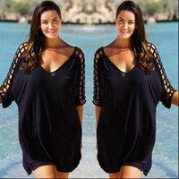 Plus Size V Neck Mulheres Vestido Oco para Fora Swimwear Beachwear Bikini Beach Wear Cover Kaftan Senhoras Verão Vestidos Preto