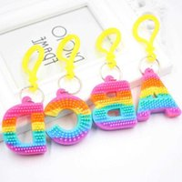 Rainbow Letter toy Pvc Keychain Pendant Soft Silicone Color Car Bridal Gift Party Supplies Baby Shower Decorations