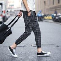 Pantalon à carreaux Hommes Joggers Streetwear Summer Ankle Longueur Harem Pantalons Elastic Taret Lâche 5XL Plus Taille Casual Black Grey Hommes