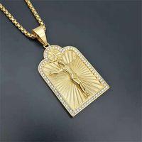 الهيب هوب الذهبي يسوع الصليب القلائد المعلقات للرجال لون الذهب سلاسل الفولاذ المقاوم للصدأ الصلب قلادة الذكور المسيحية مجوهرات 1 435 Q2