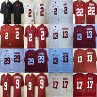 Alabama Crimson Tide NCAA College Football Jerseys 2 Hums Jersey 9 Scarbrogh 13 Tagovailoa 22 Ingram 17 Waddle 29 Fitzpatrick مخيط أحمر أبيض أسود