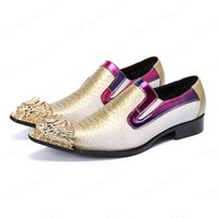 Italian Type Men's Shoes Golden Metal Toe Leather Dress Shoes for Men Slip on Rock Party and Wedding Shoes
