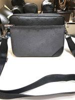 2021 الأزياء الشهيرة الرجال pochette الثلاثي رسول حقيبة 3 أجزاء أسود رمادي الأزهار قماش حقيبة crossbody عملة محفظة مفتاح الحقيبة
