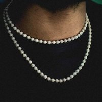 Necklaces Topgrillz 6mm8mm Iced Ball Chain Choker Necklace Hip Hop Charm Out Cubic Zirconia Bling Jewelry for Gift