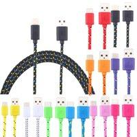 Câbles de charge de type C Nylon tressé 3 6 Cordon de chargeur coloré 9ft pour iPhone Huawei Samsung Xiaomi