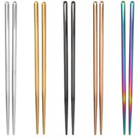 Pair Stainless Steel 304 Chinese Chopsticks Anti- slip Reusab...