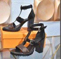 مصمم الصنادل 9CM سميكة الصلبة بلون الصنادل النسائية منصة ماء أحذية نسائية عالية الكعب بالجملةLV.لويس5.فيتون