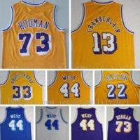 Erkekler Vintage Basketbol Jersey Jerry Batı 44 Dennis Rodman 73 Wilt Chamberlain 13 Kareem Abdul Jabbar 33 Elgin Baylor 22 Mor Sarı Beyaz