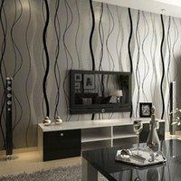 Tapeten Moderne Einfache Nichtgewebe Wellenmuster Tapete 3D Effekt Taille Linie TV Hintergrund Schlafzimmer Y70