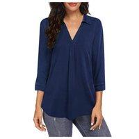 Women's Blouses & Shirts Fashion Solid Blouse Shirt Autumn Loose Lapel V-Neck Tops Female Women Long Sleeve Blusas Femininas Clothing Outerw