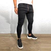 Kot erkekler AB boyutu erkek moda fermuar süslenmiş siyah ince denim pantolon1
