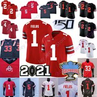 2021 NCAA Ohio State Buckeyes Football Jersey OSU Garrett Wilson Justin Fields Fleming Chris Olave Chase Young Elliott Master Teague III Schwarz Rot