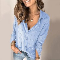 Women's Blouses & Shirts Woman's Casual Blouse Ladies Solid Color Long-sleeved V-neck Puffy Polka Dot Shirt Top Laides Loose Pullover
