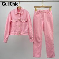 Women's Two Piece Pants 5.15 HIGH END QUALITY Starfish Button Denim Jacket Coat Or Straight Jeans Casual Fashion Set Women