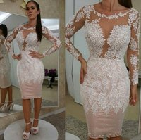 Sexy Blush Pink Plus Size Mother Of The Bride Dresses Sheath Jewel Neck Long Sleeves White Lace Appliques Knee Length Cocktail Evening Gowns