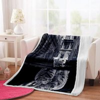 Blankets Irisbell Tiger Print Blanket Home Sofa Bed Decoration Quilt Sherpa Fleece Outdoor Camping Picnic Warm Soft Throw