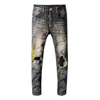 Sokotoo Herren Graue schwarze lackierte Löcher zerrissene Jeans dünn dünn dünn verzweifelt Stretch Denim Hosen lange Hose