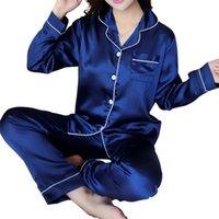 Kadın Pijama Pijama Seti Bahar Yaz Uzun Kollu Mujer Pijamas Seksi Gecelikler 2 Parça İpek Saten Pijama Takımları 211007