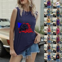 Womens Tanks & Camis Fourth of July summer sleeveless vest Letter-printed short-sleeved blouse Independence Day women casual top