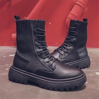 Boots Women Shoes 2021 Spring Autumn Pu Leather Female Riding Square Heel Booties British Trend Lace-Up Naked
