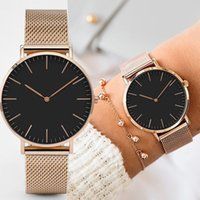 Diseñador de lujo marca relojes mple mujeres vestido de acero inoxidable banda analógica de cuarzo muñeca moda damas dorado rosa reloj hembra