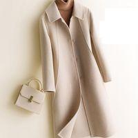 2020 Casaco de Inverno Womens Puro Lã Cor Sólida Revestimento Duplo Feminino Feminino Longo Lã Seção Cashmere Terno Collar Woolen1