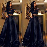 Party Dresses Evening Prom Gown Black Two Pieces Satin Girls Pageant Long Sleeve Custom Bateau Applique Plus Size A Line